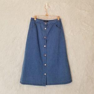 Velvet Heart Jean Button Front Midi Skirt